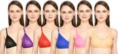 Bolddot Cotton Non-Padded T-Shirt Bra For Women & Girls (Pack of 6, Multicolor)