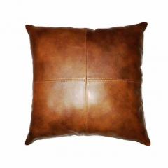 NOORA Golden brown Lambskin leather pillow cover Dark Tan Brown | Plain Square Leather Pillow Cover SJ116