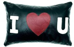 NOORA Lambskin Leather Cushion Cover Hand Made Housewarming I Love You Lumbar Rectangle Heart Shape Pillow Cover Decorative Accent PS23