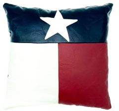 NOORA Lambskin leather Texas Flag and Political   Pillow cover Black-Red & white   Square Leather Pillow Cover Housewarming Gift Halloween PS79