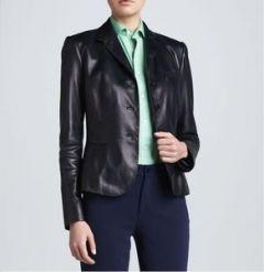 Simple Black Leather Jacket For women