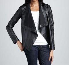Women's Black Draped Lapel Leather Jacket