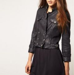 Women's Dark Grey Leather Jacket With Front Pockets