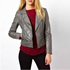 Women's  Leather Grey  Jacket