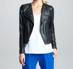 Women's Simple Leather Jacket - Black