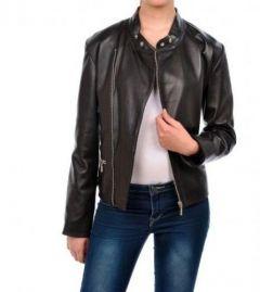 Noora Women's Simple Leather Jacket - Brown