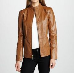 Women's Simple Fitted Tan Leather Jacket