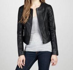 Women's Solid Black Leather Jacket
