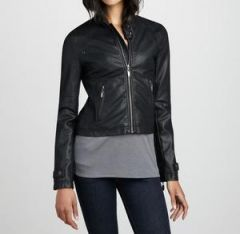 Women's Space Black Cropped Leather Jacket