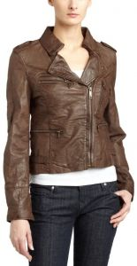 Women's Textured Brown Leather Jacket