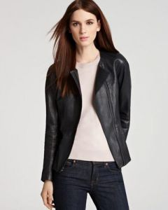 Women's Solid Leather Jacket - Black Colored