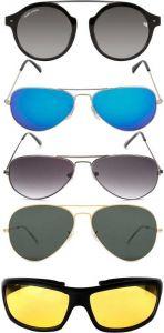 Marc Jones Mirrored, UV Protection, Night Vision, Gradient Round, Aviator, Wrap-around Sunglasses (Black, Blue, Grey, Green, Yellow) (Pack Of 5)