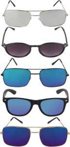 Mirrored, UV Protection Round, Retro Square, Wayfarer Sunglasses (Blue, Grey, Violet) (Pack Of 5)