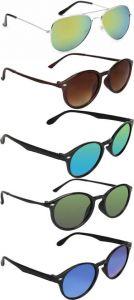 Mirrored, UV Protection, Gradient Aviator, Wayfarer Sunglasses (Green, Brown, Blue) (Pack Of 5)