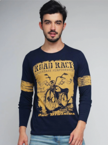 Difference Of Opinion Pattern Round Neck Full Sleeves Regular Fit Cotton T-Shirt For Mens - (Navy Blue)-NSKRT003