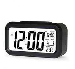 Digital Alarm Clock with Automatic Sensor Back Light LED Display and Snooze (Black) (Pack of 1)