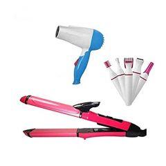 Hair Dryer, 2 in 1 Hair Straightener & Trimmer Set for Women (Pack of 3)