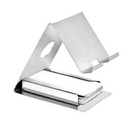 2 in 1 Stainless Steel Mobile Holder and Card Holder Stand for All Smartphone (Silver) (Pack of 1)