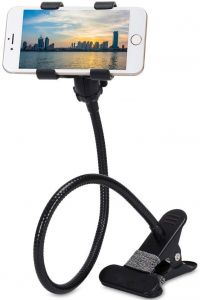 Flexible Portable Foldable Metal-Lazy Stand Bracket Cell Phone Holder   Gooseneck Long Arm Clip Mobile Stand (Black) (Pack of 1)