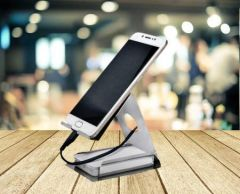 Stainless Steel Mobile Stand with Card Holder (Silver) (Pack of 1)