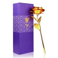 Artificial Golden Rose Flower 24K Gold Rose 10 Inches with Gift Box (Pack of 1)