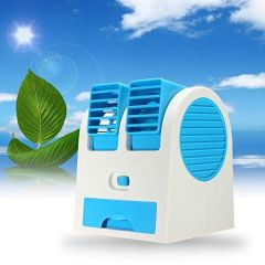Mini Fan & Portable Dual Bladeless Small Air Conditioner Water Air Cooler Powered by USB & Battery Use of Car/Home/Office (Pack of 1)