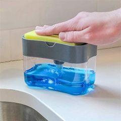 2 in 1 Soap Pump Dispenser for Dishwasher Liquid Soap Sponge Holder (380ml) Free Sponge (Pack of 1)