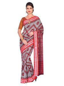 Handloom Women's Sambalpuri Ikat Cotton Saree Without blouse piece - Grey/Red