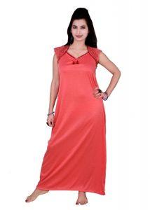 Kismat Fashion Hosiery Cotton Long Nighty - Peach