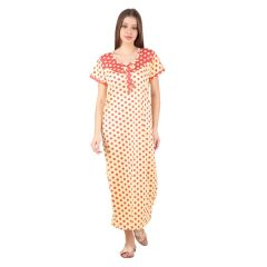 Kismat Fashion Hosiery Cotton Long Nighty - Red/Yellow