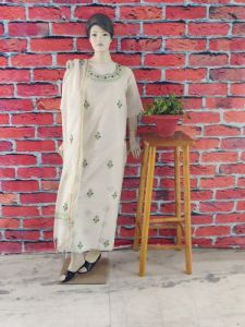 Cawa Stylish & Modish Dyeable Chanderi Suit Piece With Chikankari Embroidery for Women's (Pack of 1)   (Color: Pearl White)