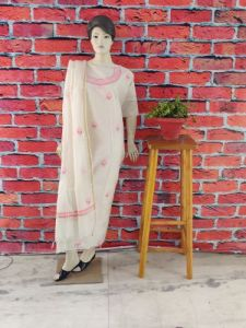 WACA Fashionable & Modish Dyeable Chanderi Suit Piece With Chikankari Embroidery for Women's (Pack of 1) | (Color: Pearl White)