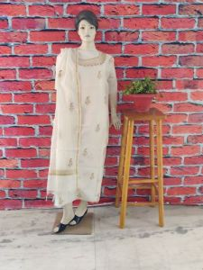 WACA Stylish & Up to Date Dyeable Chanderi Suit Piece With Chikankari Embroidery for Women's (Pack of 1) | (Color: Pearl White)