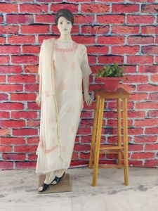 Cawa Stylish & Modish Dyeable Fancy Chanderi Suit Piece With Chikankari Embroidery for Women (Pack of 1)   (Color: Pearl White)