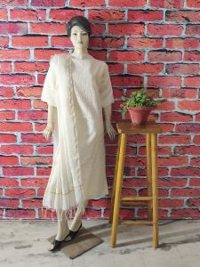 WACA Stylish & Trendy Full Sleeves Noori Unstitched Suit Piece with it comes a Lavishing Dupatta for Women (Pack: Pack of 1) | (Color: Pearl White)