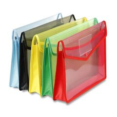 Transparent Envelope Folder A4 Size Poly-Plastic Documents File Storage Bag with Snap Button (Pack of 5)