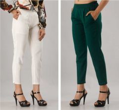 Fearless Fashion Casual Occasion And Regular Fit Cotton Blend Trousers For Women (White & Dark Green) (Pack of 2)