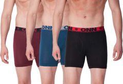 ONN Ultra-Soft Waistband Elastane Stretch Trunks For Men's (Multi-Color) (Pack of 3)