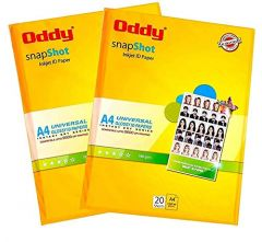Oddy A4 Size Snapshot Coated Glossy Inkjet ID Paper For High-Resolution Prints (180 GSM 20 Sheets) (Pack of 2)