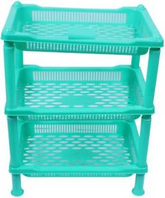Mayra Plastic Kitchen Trolley With Glossy Finishing (Green) (Pack Of 1)