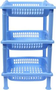 Mayra Plastic Basket-1003 Oval Plastic Kitchen Trolley (Blue) (Pack OF 1)