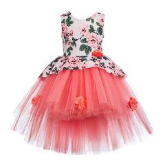 Baby Girl's Summer Kids Sequined Sleeveless Flowers Applique Short Balloon Flared Party Wear Dress (Peach)