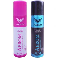 Aerom Pearl and Alive Deodorant Body Spray For Men and Women (300 ml, Pack of 2)
