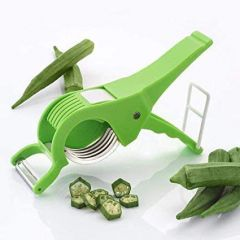 Aaradhya Vegetable Cutter 5 Sharp Blade with Peeler 2 in 1 Ideal for KItchen Use (Green)
