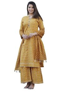Women's Cotton Printed Kurti And Sharara With Dupatta