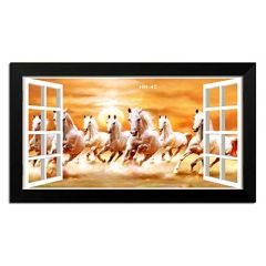 LION CRAFT 7 Horse Photo Laminated Frame (Frame Color Black, Print size-12x24 inch) Genuine Material-NO-05