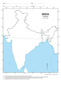Premium Quality India Physical Blank Map For Practice (100 Sheets) (Pack of 1)