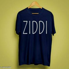 Ziddi Graphic Printed Poly Cotton Round Neck Half Sleeves T-Shirt For Men's (Blue)