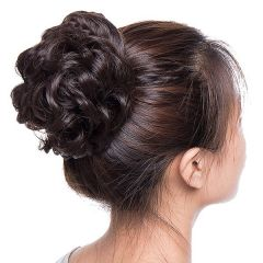 Akashkrishna Women's and Girl's Synthetic Hair Bun Extension Brown (Pack of 2)