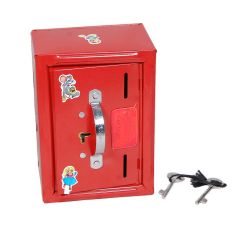 Steel Money Bank Iron Gullak No Worries For Damage For The Shop Use Home Use For Saving With Lock (Color: Red)